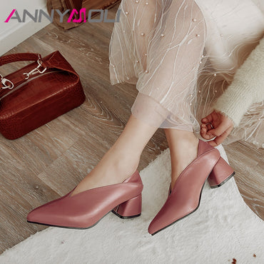 Block High Heels Mules Shoes Pointed Toe Heels