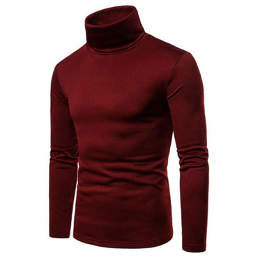 Solid Thermal Cotton Turtle Neck Turtleneck Sweaters Stretch T-Shirt