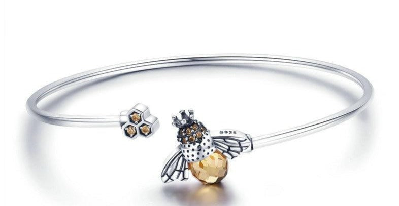 Sterling Silver Crystal Bee And Honeycomb Silver Bracelets Bangles