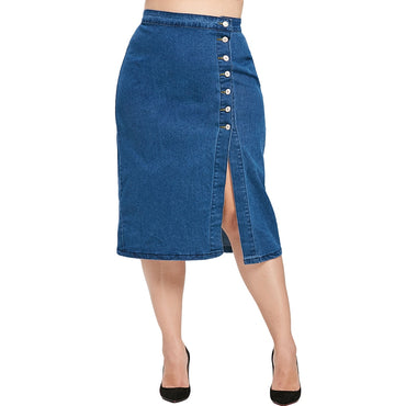 Blue Solid Straight Skirts