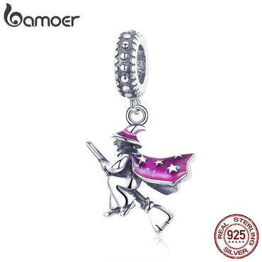 925 Sterling Silver Magic Witch Pendant Charms Bracelet & bangle