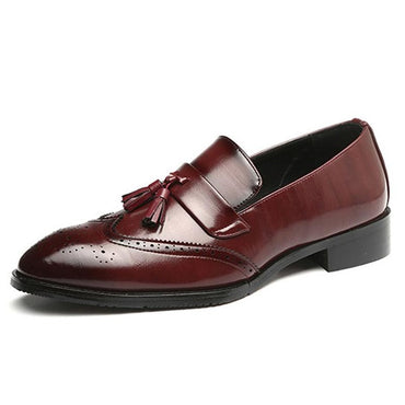 Leather Wingtip Carved Italian Brogue Oxford shoes