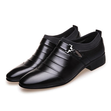 PU Leather Business Dress Loafers Pointy Black Oxford Shoes