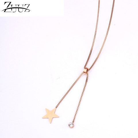 stainless steel rose gold chain choker long star pendant necklace