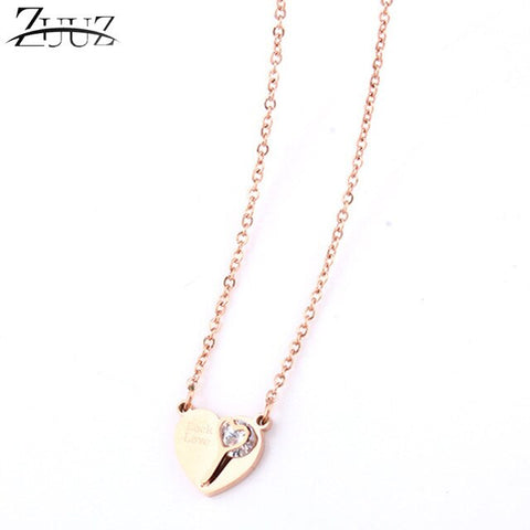 stainless steel chain choker heart long gold best friends pendant necklace