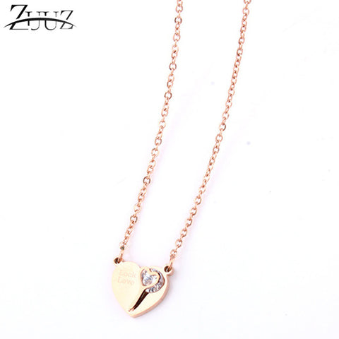 best friends pendant zircon personalized stainless steel chain choker heart long gold necklace