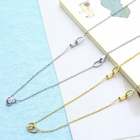 stainless steel chain choker gold long ellipse best friends pendant necklace