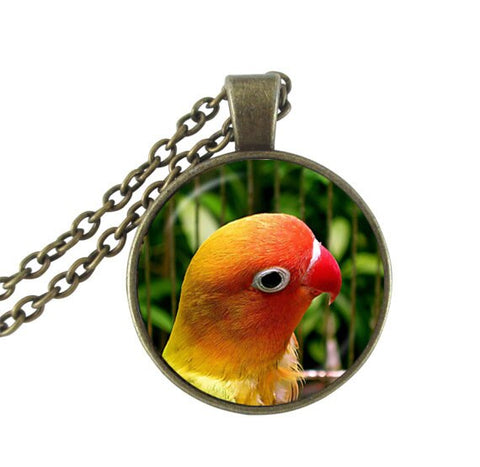 silver plated two parrots photo collar necklace