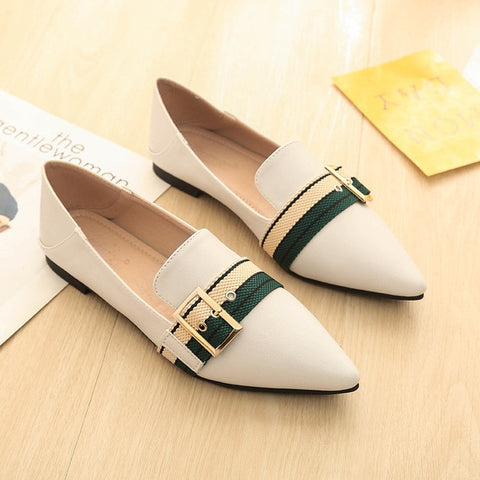 Metal Buckle Single Shoes Cloth Belt Ballerina Loafers Slip On Flat Shoes
