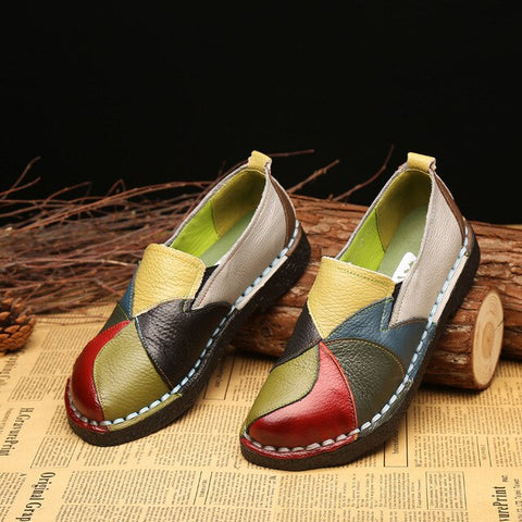 Genuine Leather moccasins ballet flats Mixed Colors Slip On Loafers Casual platform  Flat shoes