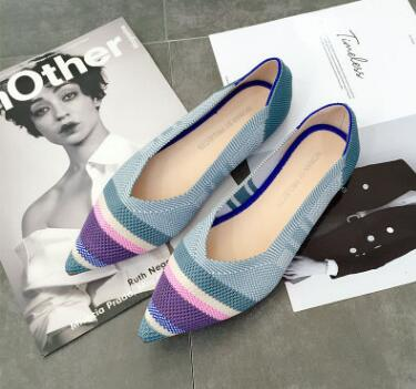 mixed colors pointed toe slip on mules  single shoes microfiber knitted  Flat shoes