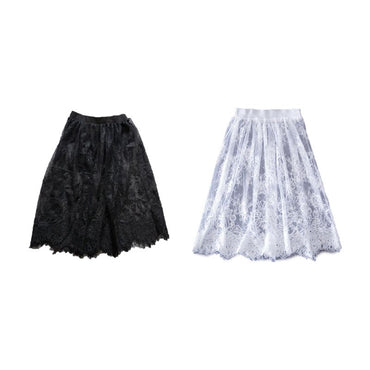 Sexy Hollow Out Sheer Floral Lace Elastic Waistband Midi Overlay Flare Skirts