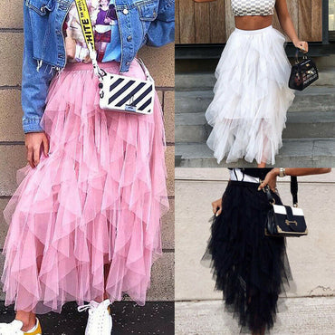 Double Layers Tulle Pleated Retro Midi Skirt