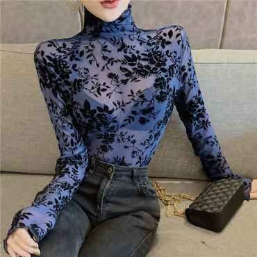 Transparent Flocking Mesh Blouses