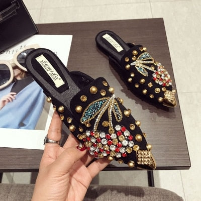 Rhinestone Crystal Loafers  Casual Pointed-Toe flats shoes