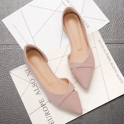 Pink Black Pure Color  Leather Pointed Toe flats shoes