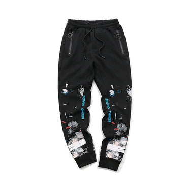 Ow Graffiti Ink Sweatpants Couples Beam Leg Trousers Casual Pants