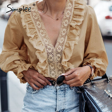 V neck ruffles women blouse