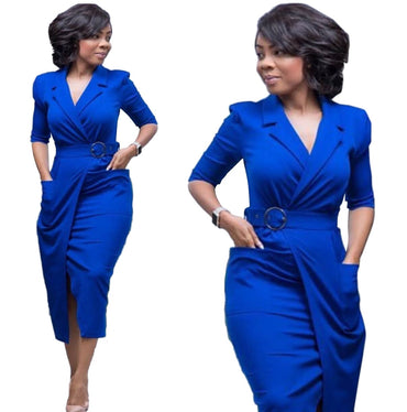 Short Sleeve V Neck Solid Blue Bodycon Sheath Plus Size Casual Work Dress