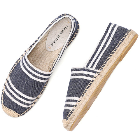 Embroidery Comfortable Flax Hemp Canvas Flat shoes