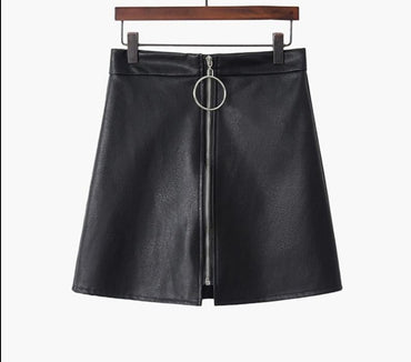 PU High Waist Mini Skirts