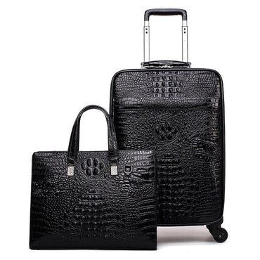 Crocodile head layer cowhide luggage sets cabin travel bags on wheels business trolley suitcase with handbag