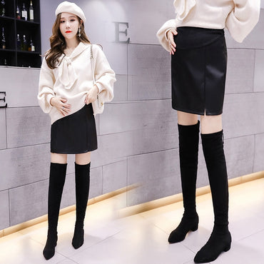Half body short leather skirts