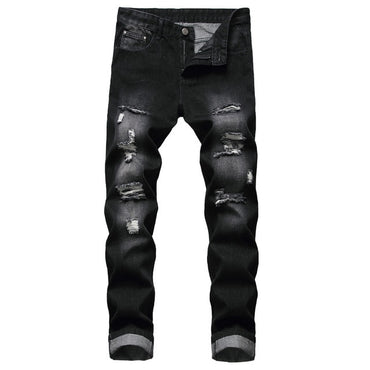 Zipper New Solid Pants Personality Ripped Slim Fit Stretch Denim Trousers jeans