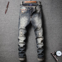 Slim Fit Retro Wash Destroyed Ripped Jeans