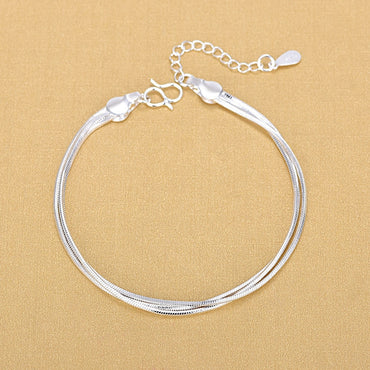 Sterling Silver Triple Layer Snake Chain Bracelets & Bangles