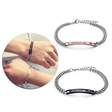 Stainless Steel Crystal Crown Charm Bracelets & Bangles