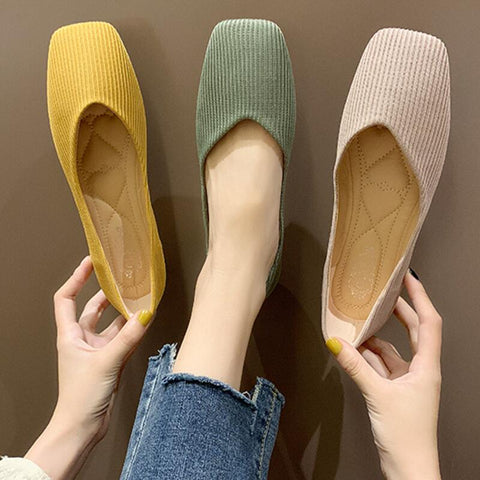 Square Toes Low Heels Flying Knitted flats shoes