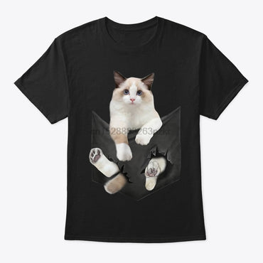 Funny Ragdoll Cat In Pocket  T-Shirt