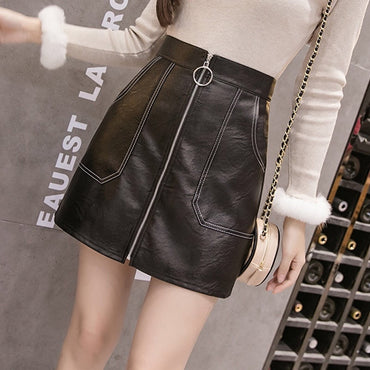 Black High Waist O-Ring Zip Detail Faux Leather Skirt