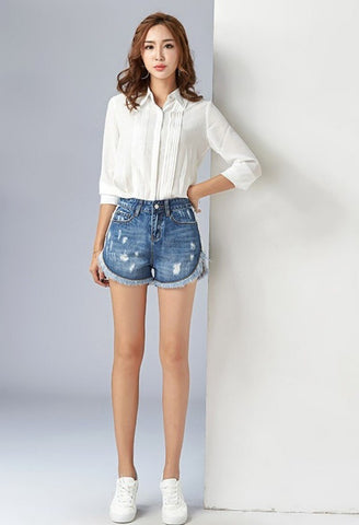 Hole Ripped Straight Casual Denim Shorts