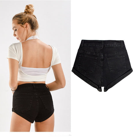 Black High Waisted Folded Hem Denim Shorts