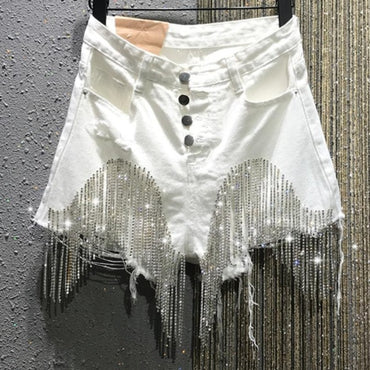 Heavy work diamond tassel hole denim shorts