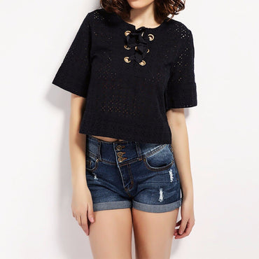 Three Buckles Casual Shorts High Waist Jeans Denim Shorts