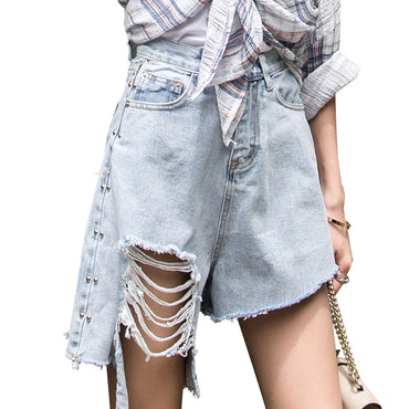 High Waist Ripped Jean Denim Shorts