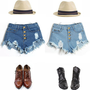 High Waist Casual Short Denim Shorts