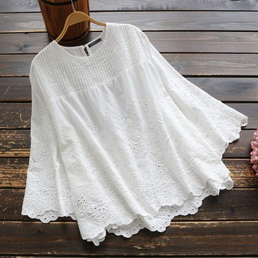 Elegant Lace Tops Casual Pleated  Blouse