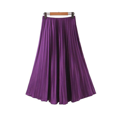 elegant purple pleated skirt