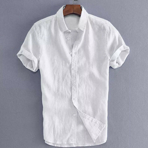 Solid Button Washable Cotton Basic Casual Short Sleeve Shirts