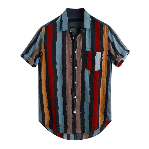 Loose Multi Color Stripe Lump Chest Pocket Short Sleeve Shirts