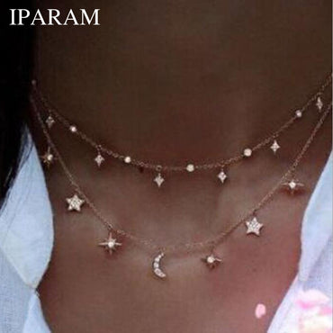 Multilayer Crystal Stars Moon Necklace
