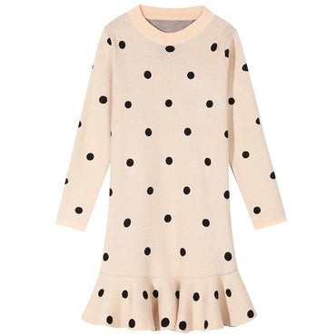 Multicolor Solid Polka Dot Casual Dress
