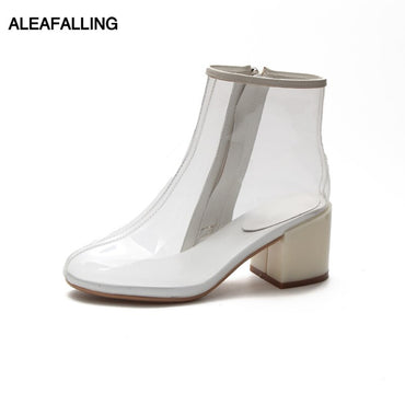 Zip PU Motorcycle Colorful Ankle Mature Boots