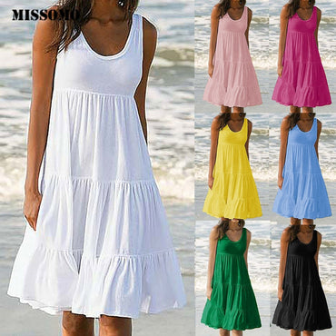Solid Sleeveless Party sundress Beach Dress