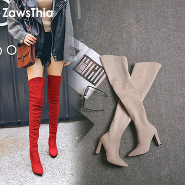 stretch elastic thigh boots