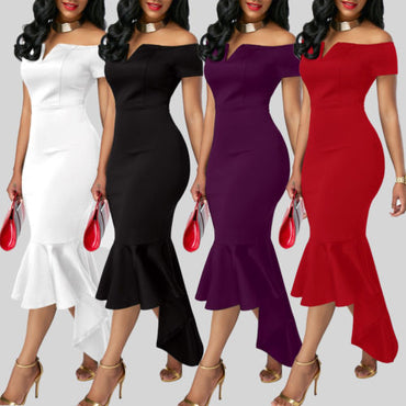 Evening Party Club Wear Short Sleeve Off Shoulder Ruffle Asymmetric Midi Dress